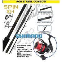 Assassin Rod Reel Combo: Spin XH 10, 10.6 or 11ft - Shimano Sienna 4000