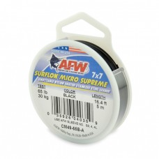 AFW Surflon Micro Supreme, Nylon Coated 7x7 Stainless Steel Leader Wire, 65 lb (30 kg) test, .030 in (0.76 mm) dia, Black, 16.4 ft (5 m)