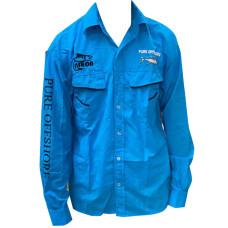 CLOTHING - UV SHIRTS LONG SLEEVE SHIRTS WITH BUTTONS PURE-OFFSURE/RAPALA FISHING SHIRTS BLUE