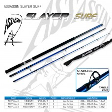 Assassin Rod Reel Combo: SURF SLAYER 12ft 3-4oz  3pc SPIN with NEW Okuma Azores 10000 9BB